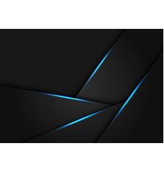 Abstract blue light on dark grey metallic polygon vector