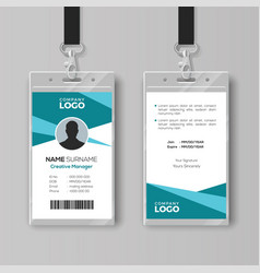 Abstract cyan id card design template vector