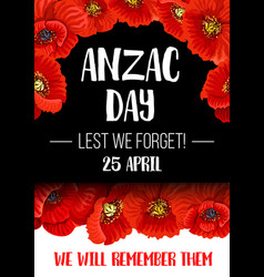 Anzac remembrance day red poppy flower banner vector
