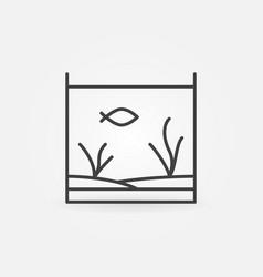 Aquarium with fish line icon vector