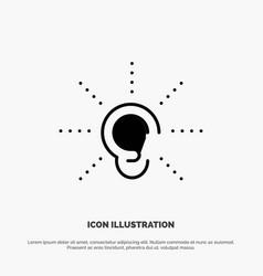 Awareness ear hear hearing listen solid glyph icon vector
