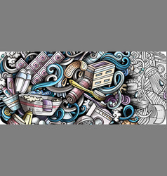 Bathroom hand drawn doodle banner cartoon vector