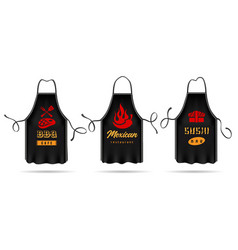 Black cooking aprons set vector