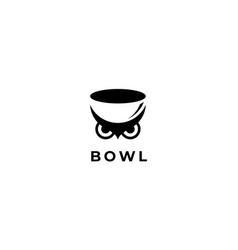 bowl with owl animal bird logo design template vector image