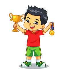 boy win the contest earn trophy and medal vector image