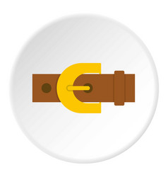 Brown elegant leather trousers belt icon circle vector