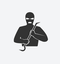 burglar in mask with crowbar vector image