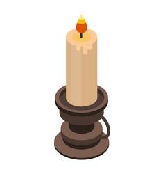 burning candle icon isometric style vector image