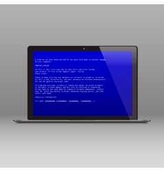 Business laptop with OS critical error message vector