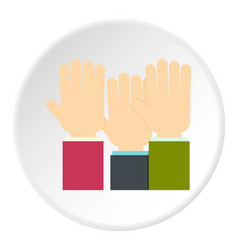 Businessmen hands up icon circle vector