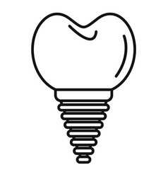 Ceramic tooth implant icon outline style vector