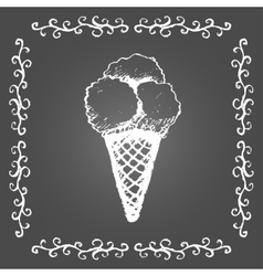 Chalk ice cream of three scoops and vintage frame vector image