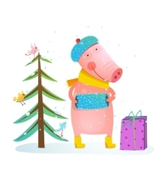 Childish cheerful little pig in winter warm vector image