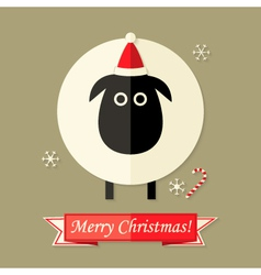 Christmas Card with Sheep over Brown vector