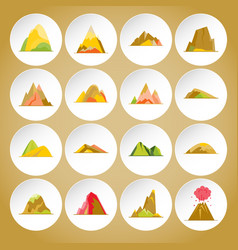 collection of mountain icons in flat style vector image
