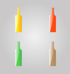 colored shiny glass bottles on a gray background vector image