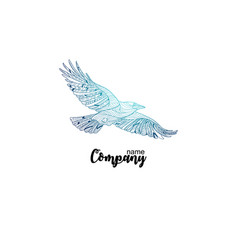colorful company icon flying crow logo design vector image