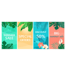 Colorful summer sale backgrounds with tropical vector