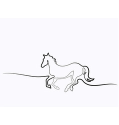 continuous one line drawing horse logo vector image