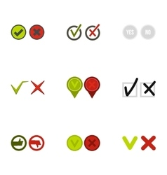 Cross and tick icons set flat style vector