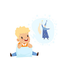 Cute boy dreaming of becoming a wizard kids vector