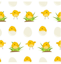 cute pattern with cartoon yellow chickens vector image