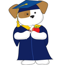 Cute puppy graduation vector