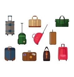 Different types baggage carry-on luggage bags vector
