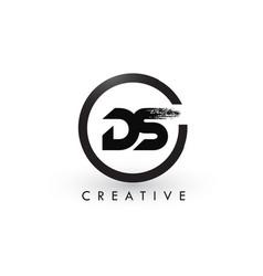 Ds brush letter logo design creative brushed vector