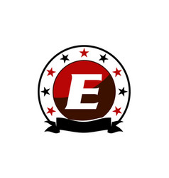 Emblem star ribbon circle initial e vector