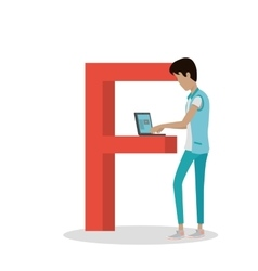 F Letter and Boy Watch Movie on Laptop ABC vector