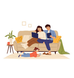 Family using gadgets home internet child parents vector