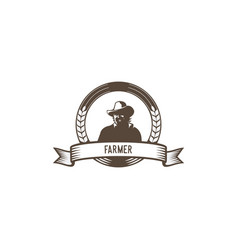 farmer emblem logo vector image