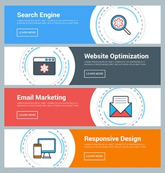 Flat Design Concept Set of Web Banners Search vector image