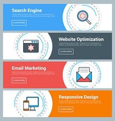 Flat design concept set web banners search vector