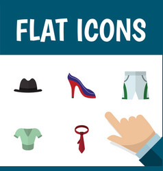 Flat icon clothes set of panama cravat heeled vector