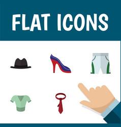 flat icon clothes set of panama cravat heeled vector image