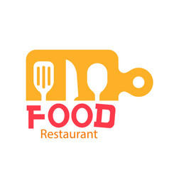 food restaurant logo kitchenware background vector image