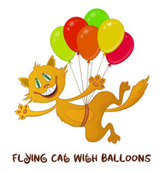 funny cat with balloons vector image
