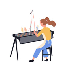 Funny girl using loom and weaving cloth isolated vector