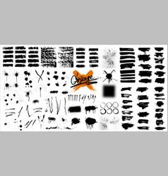 giant set black brush strokes vector image