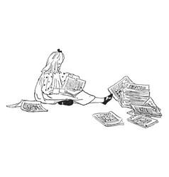 Girl reading novel vintage engraving vector