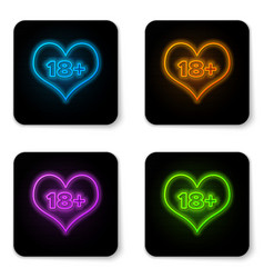 Glowing neon 18 plus content heart icon isolated vector