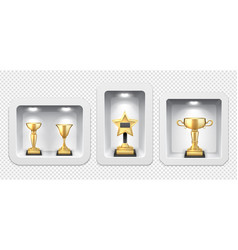 golden cups awards stand light boxes gallery of vector image