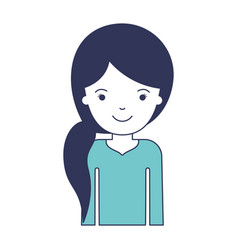 Half body woman with pigtail hairstyle in blue vector