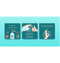 Hand sanitizer ads template design with protect vector