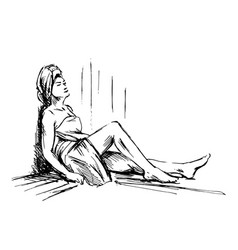 Hand sketch woman in sauna vector