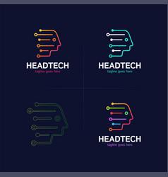 head tech logo robotic technology logotype vector image