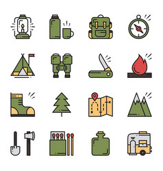 hiking and camping line icons set outdoor camp vector image