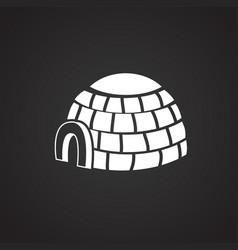 ice block house on black background vector image
